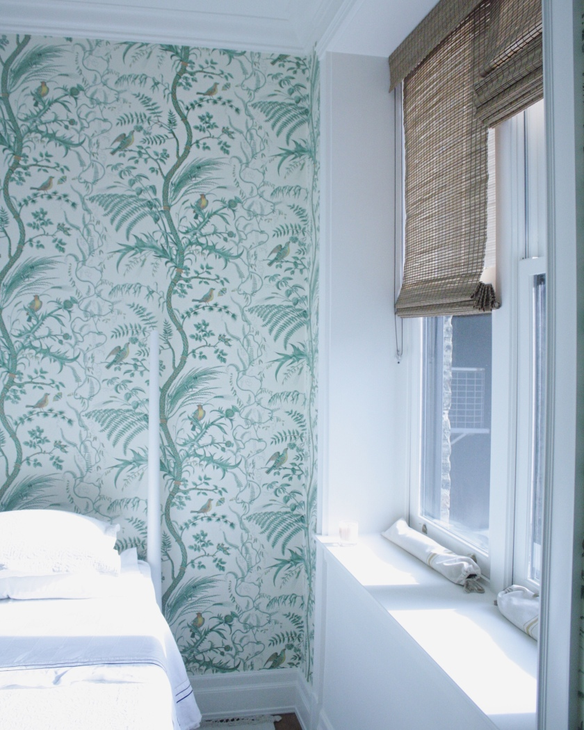 Bird Thistle Wallpaper Blinds Window Treatment Ikea Gjora Bed